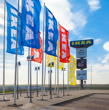 IKEA flags near the IKEA Samara Store. IKEA is the worlds largest furniture retailer