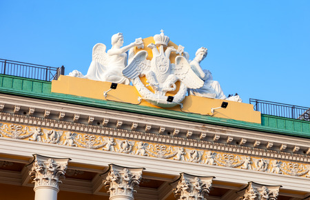 Sculptural composition on the roof of Lobanov-Rostovsky Palace. Admiralteysky Avenue in Saint Petersburg, Russia, constructed in 1817-1820