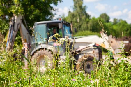 aggregates: Plants on a background of bulldozer at the construction site in summer