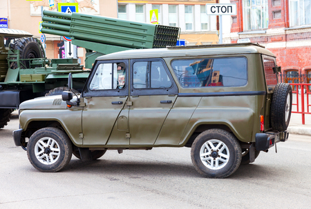 hussar: SAMARA, RUSSIA - MAY 9, 2016: Special russian armored vehicle UAZ-3152 Hussar parked at the city street during the parade on Victory Day
