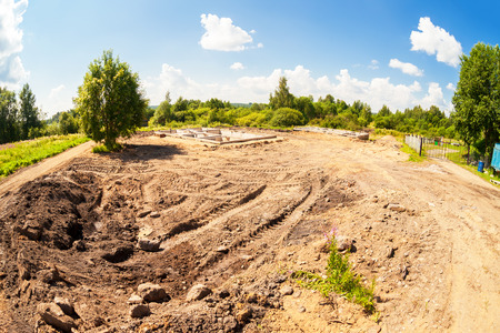 View of construction site and house foundation in preparation process in summertime Stock Photo - 70255794