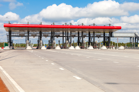 turnpike: TVER REGION, RUSSIA - AUGUST 22, 2016: Charging point on the toll road. Russian highway number M11 Editorial