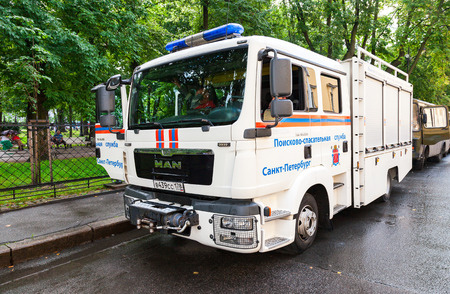 ST. PETERSBURG, RUSSIA - JULY 31, 2016: Rescue vehicle parked up on the city street in summer day Editorial