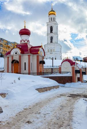 Russian orthodox church. Iversky monastery in Samara, Russia Stock Photo