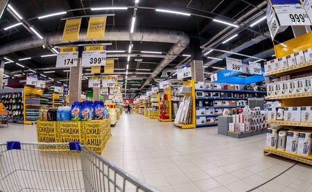 SAMARA, RUSSIA - FEBRUARY 24, 2017: Interior of the supermarket Lenta. One of largest retailer in Russia