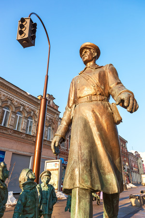 SAMARA, RUSSIA - MARCH 2, 2017: Bronze monument Uncle Stepa-militiaman at the pedestrian city street. Monument was unveiled on November 2015. Sculptor Z. Tsereteli Editorial