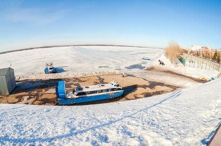 SAMARA, RUSSIA - MARCH 11, 2017: Hovercraft transporters on the Volga embankment in Samara, Russia