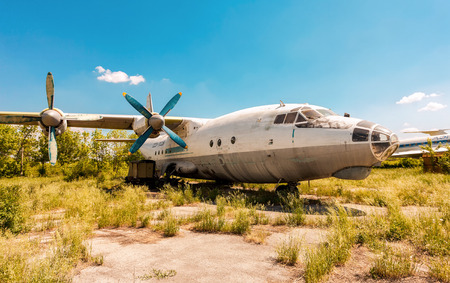 SAMARA, RUSSIA - MAY 25, 2014: Turboprop aircraft An-12 at an abandoned aerodrome. The Antonov An-12 is a four-engined turboprop transport aircraft designed in the Soviet Union Editorial