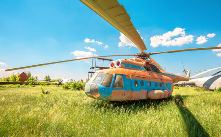SAMARA, RUSSIA - MAY 25, 2014: The russian transport helicopter Mi-6 at an abandoned aerodrome. The Mil Mi-6 was built in large numbers for both military and civil roles Editorial