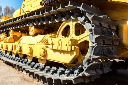 Heavy construction bulldozer. Closeup old caterpillar tractor Stock Photo