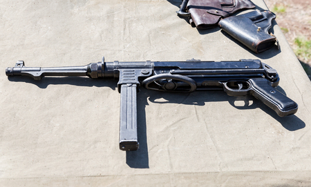 german handgun: Vintage firearms. German submachine gun Schmeisser Mp40  from World War II