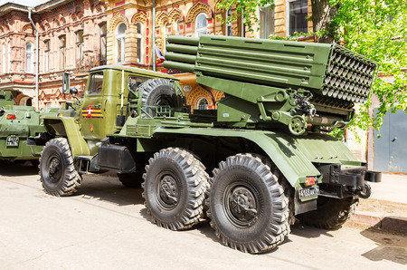 Samara, Russia - May 6, 2017: BM-21 Grad 122-mm Multiple Rocket Launcher on Ural-375D chassis at the city street in Samara, Russia Editorial