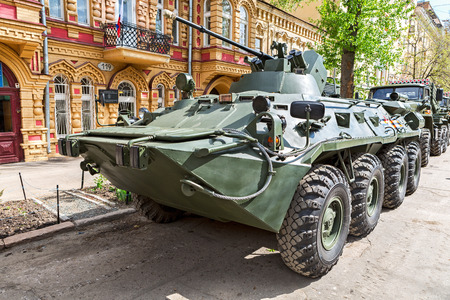 Samara, Russia - May 6, 2017: Russian Army BTR-82A wheeled armoured vehicle personnel carrier at the city street