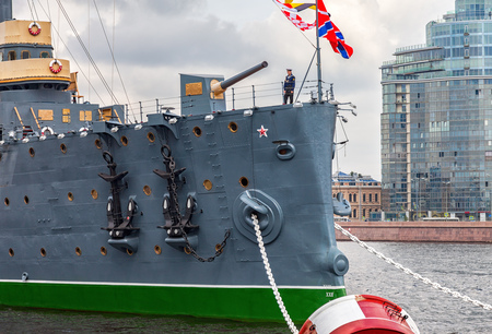 ST. PETERSBURG, RUSSIA - JULY 29, 2016: The legendary revolutionary cruiser Aurora at the place of eternal parking on the Petrograd embankment Editorial