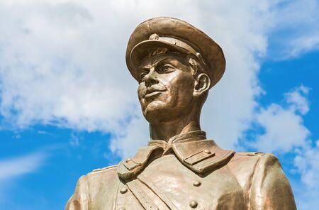Samara, Russia - May 14, 2017: Bronze monument Uncle Stepa-militiaman at the pedestrian city street. Detail
