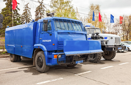Samara, Russia - May 20, 2016: Russian police heavy truck to disperse demonstrations parked at the city street in summer day