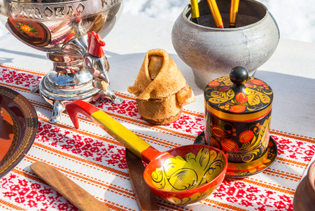 Different products of Russian folk art on the pancake week or maslenitsa