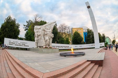 Ryazan, Russia - September 1, 2017: Eternal flame at the memory complex of the Victory in the Great Patriotic War in Ryazan, Russia Editorial