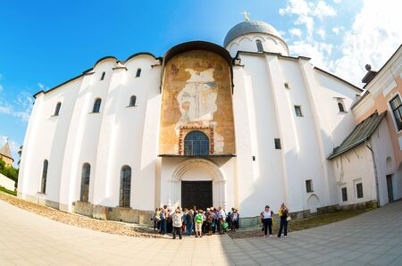 veliky: Veliky Novgorod, Russia - August 17, 2017: Russian orthodox St. Sophia Cathedral in Veliky Novgorod, Russia. Cathedral was founded in 1050