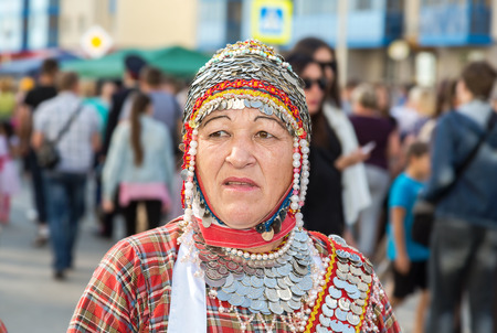 Samara, Russia - September 17, 2017: Unidentified woman in the Chuvash national headdress during the folklor festival