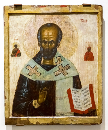 ノヴゴロド, ロシア - 2017 年 8 月 17 日: アンティーク ロシア 14 ~ 15 世紀の木の板に描かれた聖ニコラス正教会のアイコン
