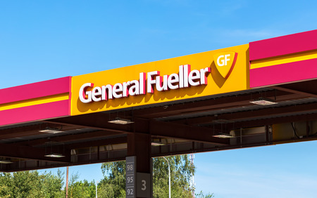 oil and gas industry: Moscow, Russia - September 03, 2017: The emblem of the oil company General Fueller on the gas station. General Fueller is one of the russian gas stations Editorial