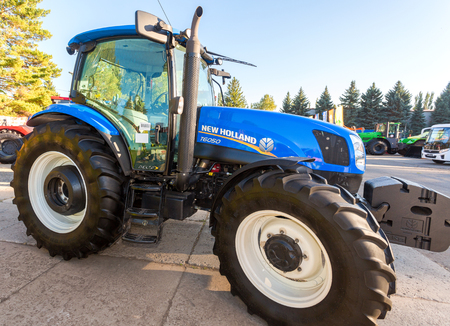 Russia, Samara - September 23, 2017: Modern agricultural tractor New Holland exhibited at the annual Volga agro-industrial exhibition