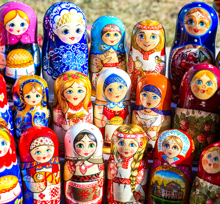 Samara, Russia - September 15, 2017: Large selection of matryoshkas Russian souvenirs at the gift shop. Nesting dolls are the most popular souvenirs from Russia Editorial