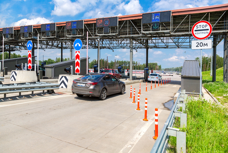 Moscow, Russia - July 16, 2017: Automatic point of payment on a toll road. Russian highway number M11 Editorial