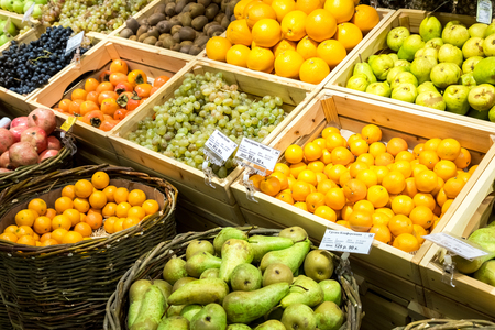 Samara, Russia - November 4, 2017: Fresh fruits ready for sale in supermarket Mindal. One of retailer in Russia