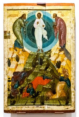 Veliky Novgorod, Rusland - 17 augustus 2017: Antiek Russisch orthodox icoon. De transfiguratie van God