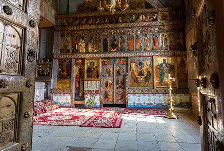 Veliky Novgorod, Russia - August 17, 2017: Interior of the Russian orthodox St. Sophia Cathedral in Veliky Novgorod, Russia. Cathedral was founded in 1050