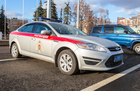 Samara, Russia - November 16, 2017: Patrol car of the troops of the National Guard of the Russian Federation (Rosgvardia). Text in russian: Rosgvardia Editorial