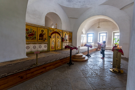 Veliky Novgorod, Russia - August 17, 2017: Interior of the Holy Cross Cathedral (1763) at the St. Georges (Yuriev) Orthodox Male Monastery