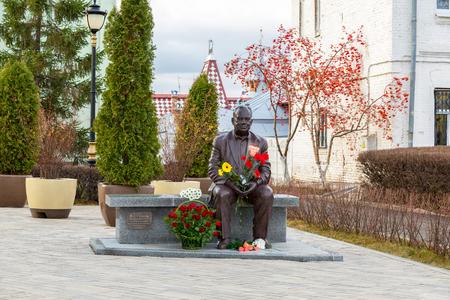Samara, Russia - November 18, 2017: Monument to the famous Russian film director Eldar Ryazanov (1927 - 2015). Monument was unveiled on October 2017, sculptor Vazha Mikaberidze