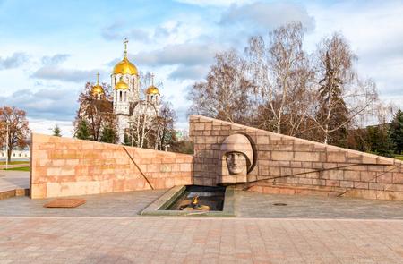 Samara, Rusko - 18. listopadu 2017: Věčný plamen na památku vítězství ve Velké vlastenecké válce