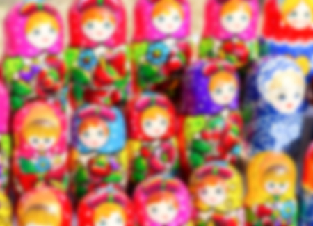 Abstract blur of matryoshkas Russian souvenirs at the gift shop