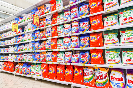 Samara, Russia - January 2, 2018: Different washing powder ready for sale at the hypermarket Auchan Editorial