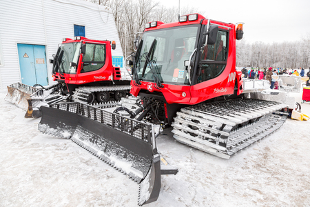 Samara, Russia - January 6, 2018: Snow groomer machines at the winter park. Used to prepare slopes for skiers