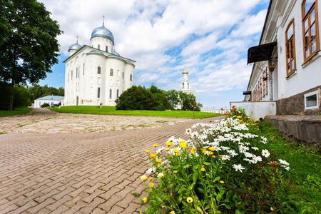 St. George (Yuriev) Orthodox Male Monastery in Veliky Novgorod, Russia Banco de Imagens