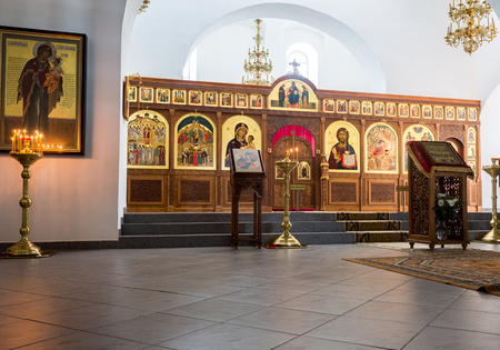 Veliky Novgorod, Russia - August 17, 2017: Interior of the Saviour Cathedral at the St. George (Yuriev) Orthodox Male Monastery in Veliky Novgorod, Russia Editorial