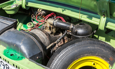 Samara, Russia - May 1, 2017: Under the hood of a retro soviet vehicle, engine of old car ZAZ-968M Zaporozhets