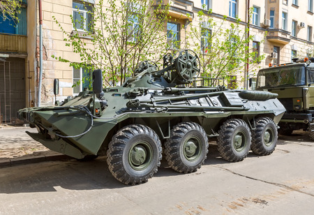 Samara, Russia - May 6, 2017: Wheeled armored recovery vehicle ARV-K based on the BTR-80 at the city street before the parade