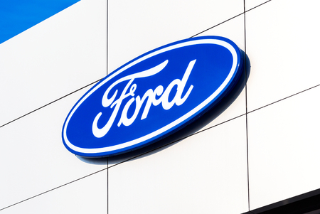 Samara, Russia - February 24, 2018: Dealership sign Ford on the office of official dealer. Ford Motor Company is an American multinational automaker Sajtókép