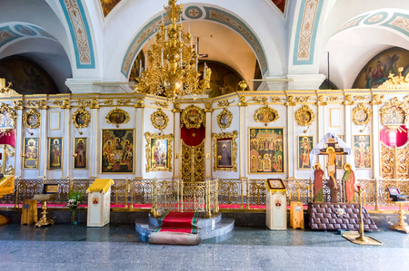 Veliky Novgorod, Russia - August 17, 2017: Interior of the Intercession Cathedral in Zverin Pokrovsky Monastery. Russian orthodox church