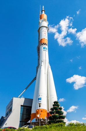 Samara, Russia - May 25, 2017: Real Soyuz spacecraft as monument against the blue sky. Soyuz launch vehicle is the most frequently used launch vehicle in the world