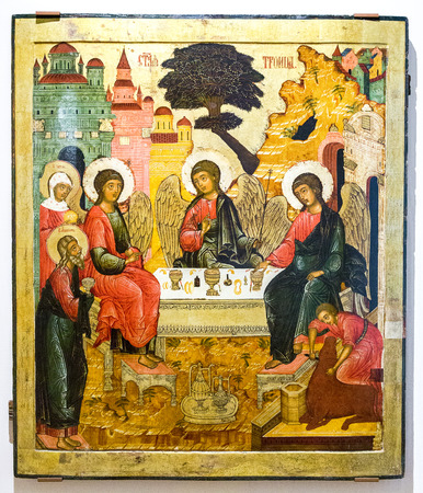 Veliky Novgorod, Russia - August 17, 2017: Antique Russian orthodox icon. The Old Testament Trinity, 17th century Editorial