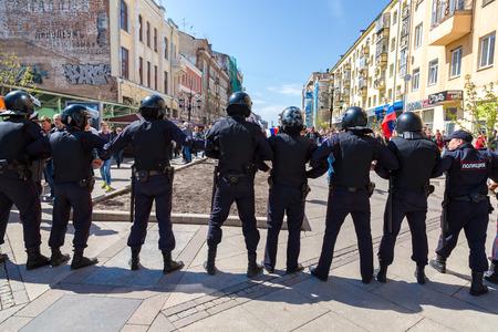 Samara, Russia - May 5, 2018: Police officers block an Leningradskaya street during an opposition protest rally ahead of President Vladimir Putins inauguration ceremony Editorial