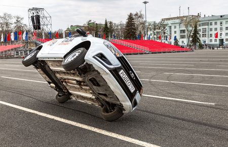 Samara, Russia - May 1, 2018: Performance of members from stuntmen team Avtorodeo Togliatti Trick during celebration First May at the central square Editorial