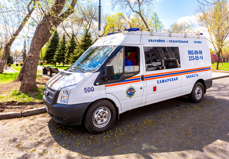 Samara, Russia - May 9, 2018: Rescue vehicle parked up in the street in sunny day Editorial